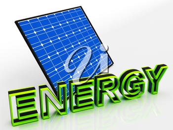 Solar Panel And Energy Word Showing Alternative Energies
