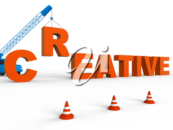 Crane Building Creative Word Shows Inspired And Imaginative 3d Rendering