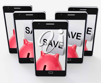 Save Piggy Bank Phone Showing Product Discounts And Bargains