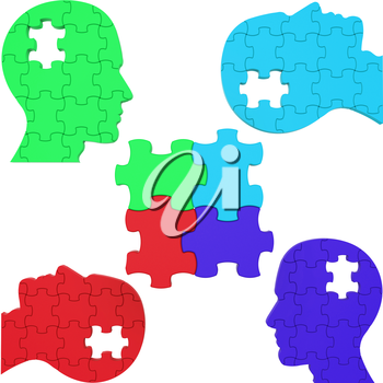 Heads Think Showing Team Work And Puzzle