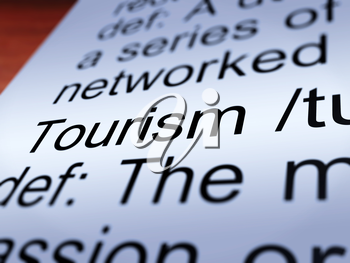 Tourism Definition Closeup Shows Traveling Vacations And Holidays