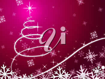 Pink Christmas Tree Background Meaning Snowing And Freezing