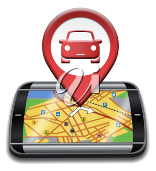 Car Gps Showing Automotive Drive And Navigation