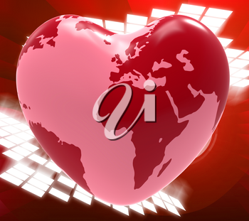Heart Globe Indicating Valentines Day And Passion