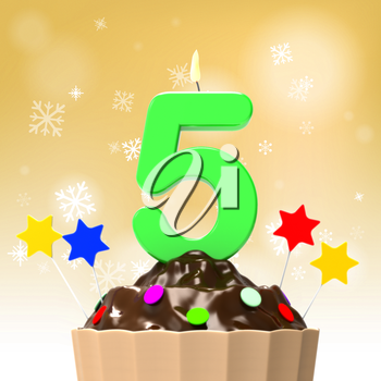Five Candle On Cupcake Showing Decorated Food Or Party