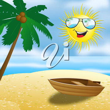 Beautiful Beach With Smiling Sun And Boat 3d Illustration