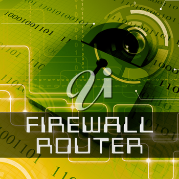 Firewall Router Data Padlock Shows Computer Defence 3d Rendering