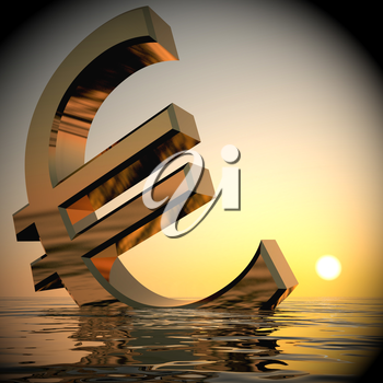 Euro Sinking And Sunset ShowsDepression Recession 3d Rendering