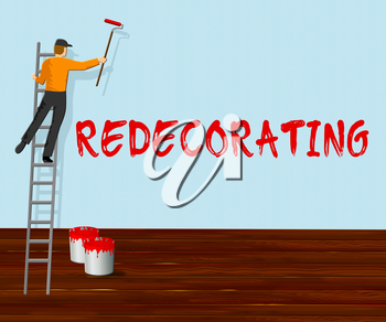 Home Redecorating Showing House Painting 3d Illustration