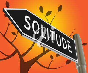 Solitude Road Sign Means Alone And Lost 3d Illustration
