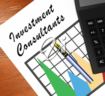 Investment Consultants Graph Showing Investing Specialist 3d Illustration