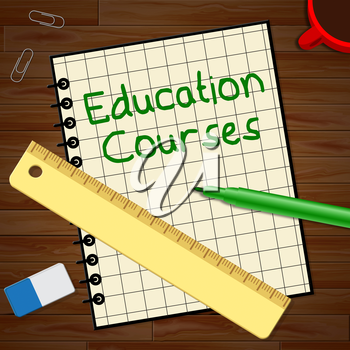 Education Courses Notebook Represents Course 3d Illustration