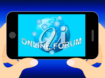 Online Forum Mobile Phone Represents Social Media 3d Illustration