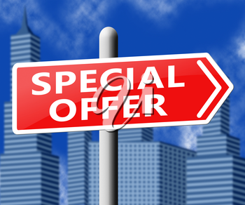 Special Offer Sign Representing Big Reductions 3d Illustration