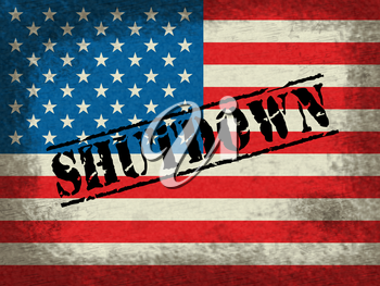 Usa Shutdown Flag Political Government Shut Down Means National Furlough. Senate And President In Washington DC Create Closure