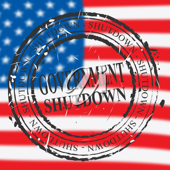 Government Shut Down Stamp Means United States Political Closure. President And Senators Cause Shutdown Across The Nation