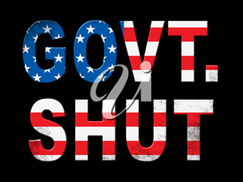 Government Shutdown Words Means America Closed By Senate Or President. Washington DC Closed United States