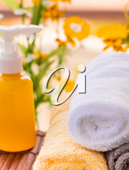 Spa Themed Collage Composed of Natural Oils and Towels