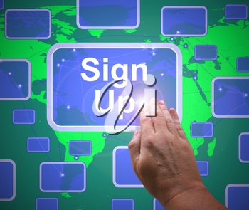 Sign up concept icon means registration or signing up. Enlisting and enrolling in a course - 3d illustration