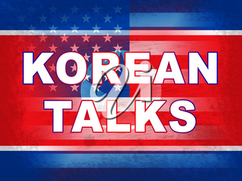 North Korean American Flags For Talks 3d Illustration. Conflict And Accord To Build Peace With US