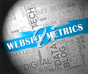 Website Metrics Business Site Analytics 2d Illustration Shows Analytic Forecasts Or Trends For Data Evaluation