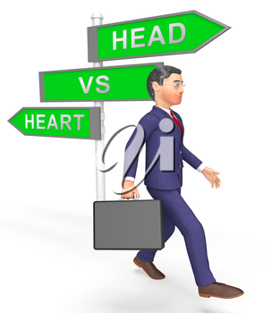 Head Vs Heart Sign Portrays Emotion Concept Against Logical Thinking. Cerebral Reason Versus Soul And Feeling - 3d Illustration