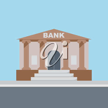 Bank building, finance institution with road on flat style background concept. Vector illustration design