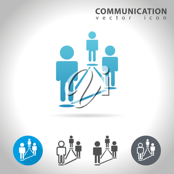 Social communication icon set, collection connected human figures, vector illustration