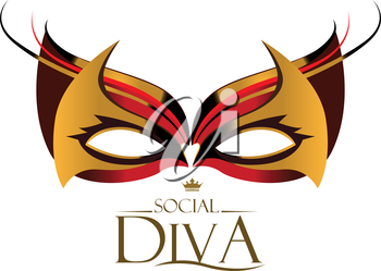 Diva Logo with Masquerade Glasses. EPS 8 Supported.