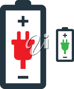 Battery with Power Plug Icon Design.