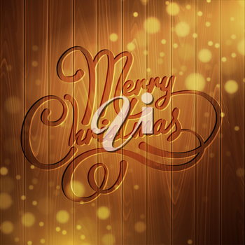 Christmas decoration on the wooden background. Vector background EPS 10