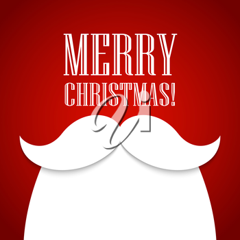 Christmas card with a beard and mustache Santa Claus. Vector illustration EPS 10