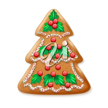 Ornate realistic vector traditional Christmas tree. Vector illustration EPS10