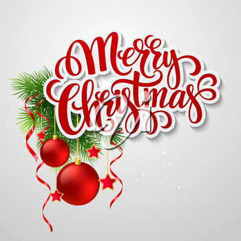 Christmas lettering card with holly and  fir-tree branch. Vector illustration EPS 10