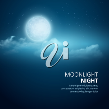 Night vector background, Moon, Clouds and shining Stars on dark blue sky. EPS 10