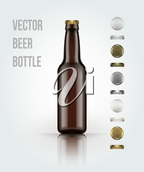 Blank glass beer bottle for new design. Vector illustration EPS 10