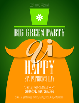 St. Patrick Day poster with a mustache and hat EPS10