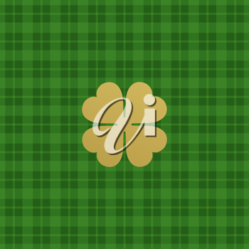 Green checkered pattern with clover leaf. Vector illustration EPS10