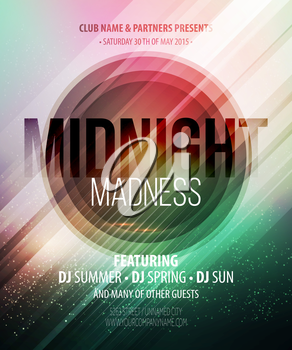 Midnight Madness Party. Template poster. Vector illustration EPS 10