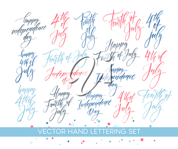 Set of Independence Day hand drawn lettering designs. Fourth of July. Vector illustration EPS10