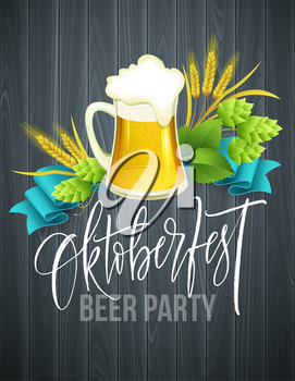 Poster template of Oktoberfest beer party with different objects related with beer festival and handwriting lettering. Vector illustration EPS10