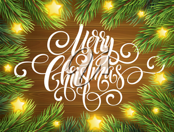 Merry Christmas handwriting script lettering. Greeting background with a Christmas tree. Vector illustration EPS10