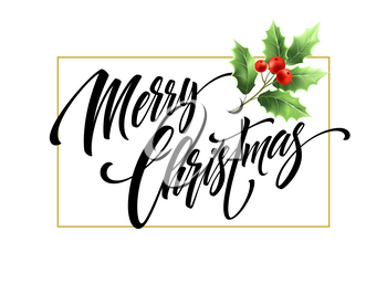 Merry Christmas hand drawn lettering with mistletoe branch. Xmas calligraphy. Christmas lettering with mistletoe twig and red berries in rectangular frame. Banner, poster design. Isolated vector