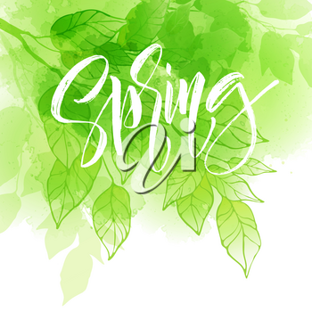 Hand lettering spring design on a green and yellow watercolor painted background with leaf. Calligraphy letters. Vector illustration EPS10