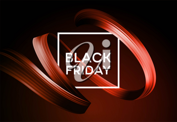 Black friday sale banner with flow color paint ribbon. Vector illustration EPS10