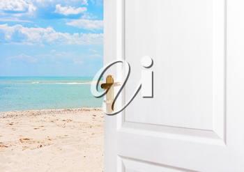 Open doors to the beach. Exit the room to the sea. The concept of relaxation, vacation, a new life
