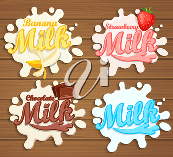 Chocolate, Banana, Strawberry milk labels splash. Blot and lettering on a wooden background. Vector illustration.