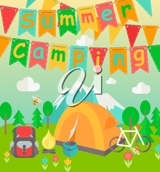 Summer Holiday and Travel themed Summer Camp poster in flat style. Hiking, mountain and travel icons. Party colorful flags with text. Vector illustration.