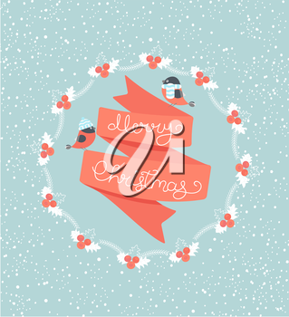 Christmas Greeting Card. Merry Christmas lettering with birds. Vector illustration.