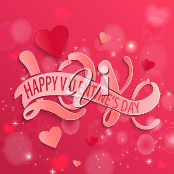 Happy Valentines Day design card. Love - Hand Drawing Vector illustration.